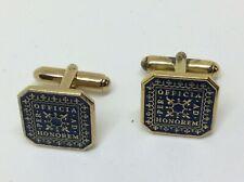Fab Vintage 9ct Gold On Solid Silver Enamel Masonic Officia Honorem Cufflinks