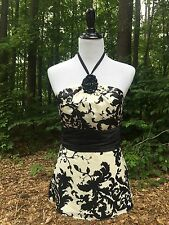 EXC!! White House Black Market Womens Halter Top Size 4 Silk Embellished Beaded
