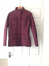 LADIES 'BARBOUR' BURGANDY QUILTED JACKET. SIZE 8. HIP LENGTH.