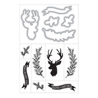 Art C Stamp & Cut, Stamps & Dies, Reindeer, Season's Greetings, Christmas, Bough