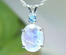 MOONSTONE- Genuine Rainbow Faceted .925 Sterling Necklace 3.54ct Blue Topaz acc