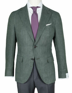 Caruso Jacket IN Dark Green With Fischgratmuster IN Linen/Wool / RegEUR1390