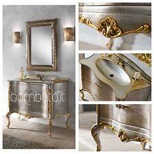 Mobile Bagno Barocco Veneziano Foglia Argento Top Cristal Lusso