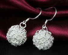 925 Silver plated Fashion Clear Hollow Disco Ball Stud Earrings Lady Hot Gift