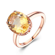 Flawless 4.8ct Oval 12x10mm Citrine Solid 18K Rose Gold Ring Engagement Gemstone