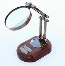 NEW DESKTOP BRASS ADJUSTABLE STAND MAGNIFYING GLASS MAGNIFIER NAUTICAL MARITIME