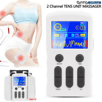 TENS Unit EMS 2 Channel Muscle Stimulator Pulse Massager 3 In 1 Back Pain Relief