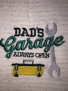Embroidered White Kitchen Bar Hand Towel   Dad's Garage Always Open BS0945R