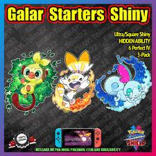 Galar Starters 3-Pack Square Shiny | HIDDEN ABILITY | 6IV | Pokemon Sword Shield