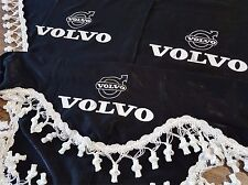 Set Of 3 Black Curtains With White Tassels  And Logo For VOLVO All Series