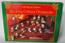 Miniature Christmas Ornaments Lot of 18 Stocking Critters Hand Painted - Vintage