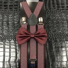 Burgundy Bow Tie & Pattern Suspender Set Tuxedo Wedding Formal Mens Accessories