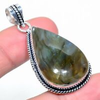 "Labradorite Gemstone Handmade 925 Silver Jewelry Pendant 2.05"" VJ-14851"