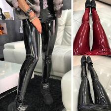 Women Shiny Vinyl Faux Patent Leather Stretch Leggings Wet Look PVC PU Trousers