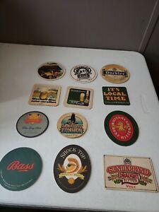 Vintage beer coasters LOT OF 12 DIFFERENT Brands & Kinds 70s 80s 90s  (lot 16)