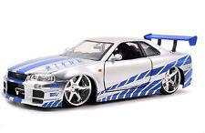 Fast and Furious 7 Brian's 1999 Nissan Skyline GT R R34 Diecast 1:24 Jada 97158