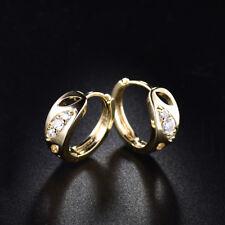 Elegant Yellow Gold Filled 3-Diamond Hoop Women Banquet Wedding Party Earrings