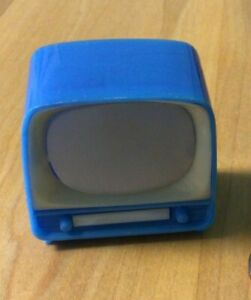 Vintage Mini TV Photo Viewer, Indiana Beach, Blue Old Timey TV with push button