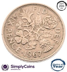 Lucky Silver Sixpence 1947- 1967 - Birthday / anniversary - Choice of Year/Date