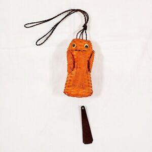 Vintage Rattan Elephant Windchimes Orange Wicker MCM Figural Wind Chimes