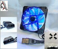 PC Gehäuse Lüfter 12cm 120mm 120x120x25mm DC 12V Leiser Kühler Acryl Blau 15 LED