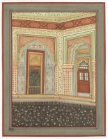 Hand Painted Indian Miniature Royal Palace Painting On Paper Islamic Design Art