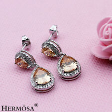 Valentine's Gift AAA Sterling 925 Silver Pear Brown Morganite Shiny Earrings