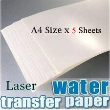 5PACKS A4 LASER WHITE WATER SLIDE DECAL PAPER WATERSLIDE TRANSFER PAPER