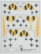 BLUE RIDER WWI 1/72 decals FOKKER DR.Is in JASTA 19 *FREE POSTAGE WITH KIT*