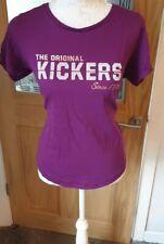 Kickers Ladies Chest Print Short Sleeve Tee Top Classic Shirt Purple UK 16
