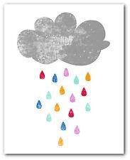 Rainbow Rain Print, Nursery Cloud Art, 8 x 10 Inches, Unframed