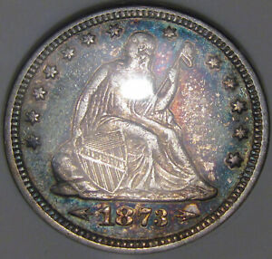 """1873 """"With Arrows"""" Seated Liberty Quarter Dollar ANACS EF-45...Very Pretty, NICE"""