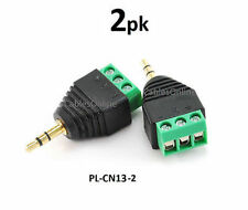 "2-PACK 3.5mm 1/8"" Stereo Male Plug to AV 3-Screw Terminal Block Balum Connector"