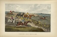 STEEPLECHASE HORSE RACE COLORED PRINT HORSES RIDERS JUMPING THE DITCH AND FENCE