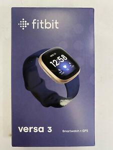 Fitbit Versa 3 Smartwatch GPS Soft Gold Aluminum Case Midnight Infinity Band