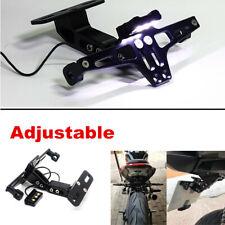 Black Aluminum Motorcycle ATV License Plate Tag Frame Holder  w/LED Rear Light