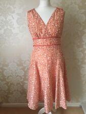 NEXT LADIES 100% SILK ORANGE CREAM FLORAL DRESS SIZE 10 NEW