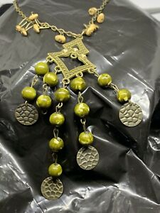 Ethnic/ Tribal Style Necklace. Green Beads
