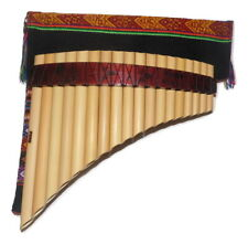 Pan Flute 18 pipes Nazca Designs + Case-Natural Bamboo