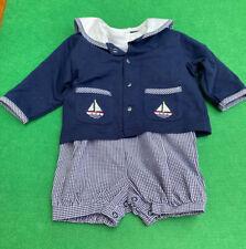 Vintage ? Cuddle Bear Outfit Nautical Blue Sz 6/9M