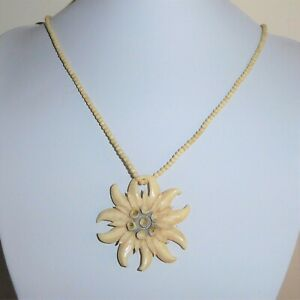 Vintage Pendant Necklace Hand Carved Edelweiss Flower and Tiny Rounds Beads