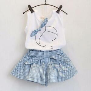 UK Summer Kid Girl Floral Outfits Clothes Vest T-shirt Tops + Shorts Pants Set £