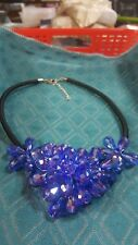 DEEP BLUE AURORA BOREALIS CRYSTAL CLUSTER NECKLACE BLACK CORD STERLING CLASP