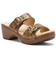Dansko Sophia  Brown Speckled Womens Leather Comfort Clog Sandals Sz 36 US 6 EUC