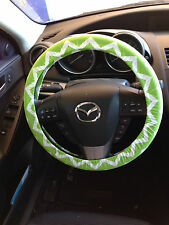 Lime Green Chevron Steering Wheel Cover