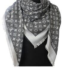 NEW! LOUIS VUITTON Monogram Denim Black Silk/Wool Shawl Scarf