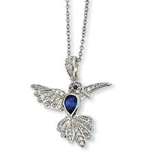 """Cheryl M Sterling Silver CZ & Synthetic Sapphire Hummingbird Necklace 18"""""""