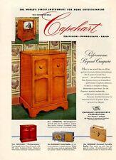 1952 Capehart PRINT AD Television Models Bennington Chippendale Clock Radio