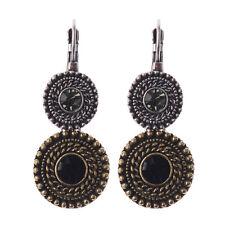 Vintage Bohemian Boho Style Bronze Double Crystal Round Women Clip Stud Earrings