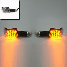2 X Mini Carbon Led Motorcycle Bike Turn Signal Indicator 15 Led Amber Blinker